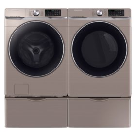 SAMSUNG 4.5 cu. ft. Front Load Washer & 7.5 cu. ft. Dryer on Pedestals - Chamapgne