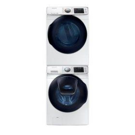 SAMSUNG Stackable 4.5 cu. ft. Front Load Washer & 7.5 cu. ft. Dryer - White