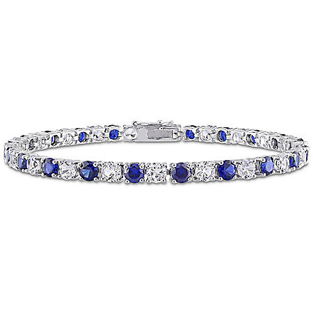 Created Gemstone Tennis Bracelet in Sterling Silver, 7.25""
