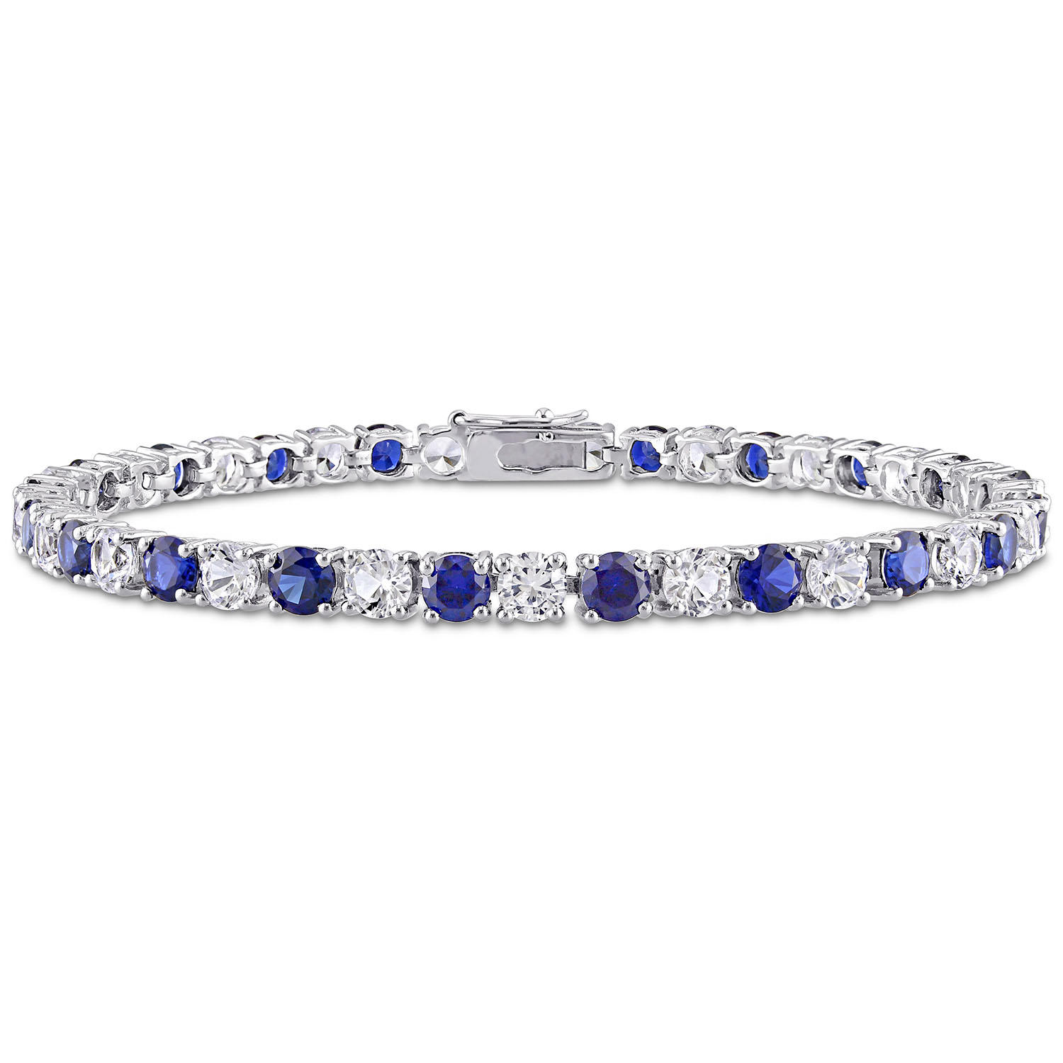 "Created Gemstone 7.25"" Tennis Bracelet in Sterling Silver"