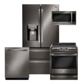 LG 4pc Kitchen Suite with French Door Refrigerator in Black Stainless Steel