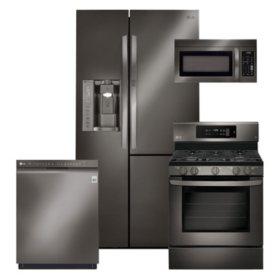 LG - 4pc 26cft Side-by-Side Ref, GAS Conv Range Kitchen Suite