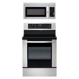 LG - LRE3060 / LRG3061, LMV1831 - 6.3 Cu Ft Single Oven Range with Easy Clean and 1.8 Cu Ft OTR Microwave Suite - (CHOOSE: Color, Fuel Type)