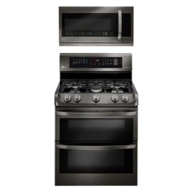 LG - LD4415BD, LMHM2237BD - 7.3 Cu Ft Double Oven with ProBake Convection and 2.2 Cu Ft OTR Microwave Suite - Black Stainless Steel (CHOOSE: Fuel Type)