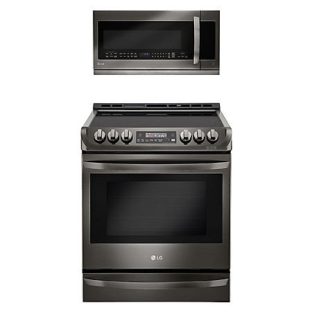 LG 6.3 Cu Ft Gas Single Oven Slide-In Range with ProBake Convection and 2.2 Cu Ft OTR Microwave Suite in Gas or Electric