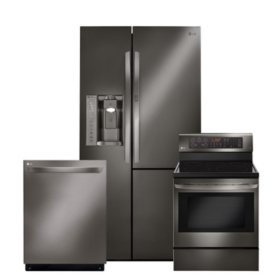 LG 3pc Kitchen Suite with Door-in-Door Refrigerator in Black Stainless Steel
