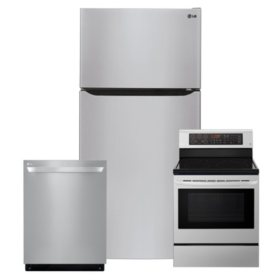 LG 3pc Kitchen Suite with Top Mount Refrigerator in Stainless Steel