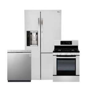 LG - 3pc  Kitchen Suite Elec / Gas Range, 26cu Side-by-Side Ref
