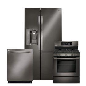 LG 3pc Kitchen Suite with Door-in-Door Refrigerator in Black Stainless Steel
