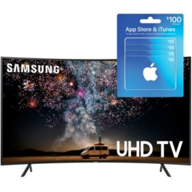 "SAMSUNG 55"" Class 7-Series Curved 4K Ultra HD Smart HDR TV (UN55RU730DFXZA) with $100 iTunes Gift Card"