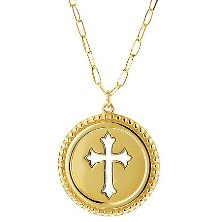 14K Round Cut Out Cross Medallion Necklace, 22""
