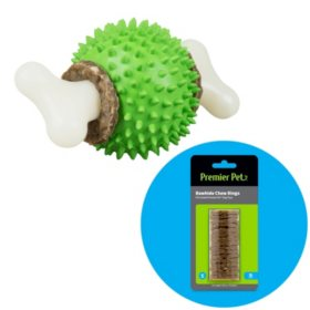 Premier Pet Ring Holding Ball Dog Toy, Small (dogs up to 10 lbs.) + Rawhide Chew Ring Replacements, Small (16 ct.)