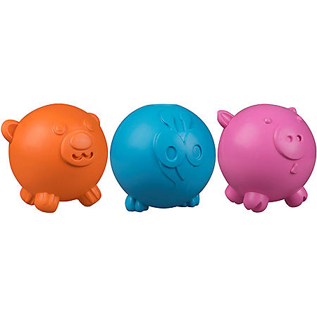 Premier Pet Fun Durable Treat Dispensing Dog Toy (Pig, Peacock & Bear)