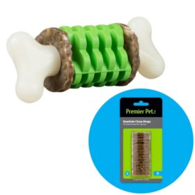 Premier Pet Ring Holding Bone Dog Toy, Small + Rawhide Chew Ring Replacements, Small (16 ct.)