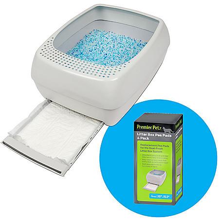 Premier Pet Dual-Fresh Litter Box System for Cats, Easy-to-Clean Cat Litter Box + Litter Box Pee Pads (4 pk.)