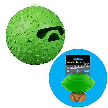 Premier Pet Treat Holding Ball Dog Toy, Medium + Football Dog Toy, Medium