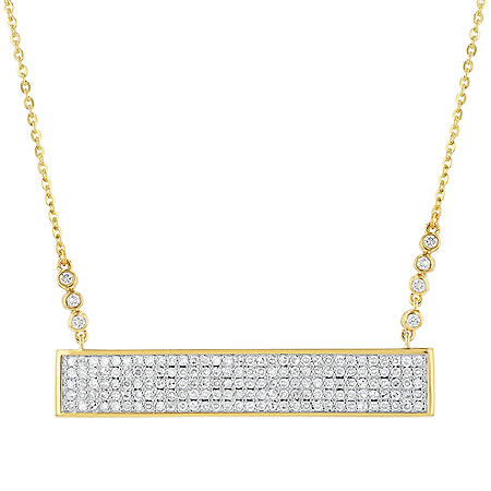 S Collection Diamond Pave Bar Necklace in 14K Yellow Gold