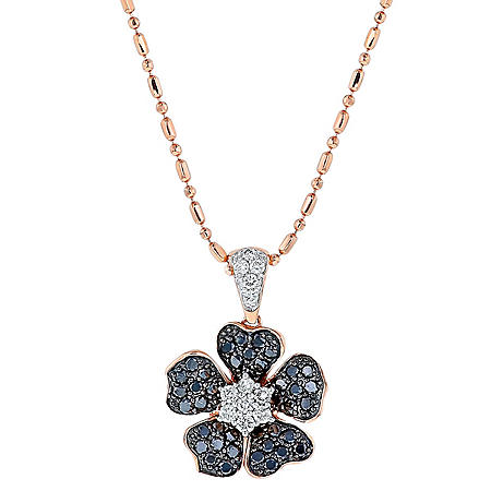 S Collection 1/2 CT. TW Black and White Diamond Flower Pendant in 14K Rose Gold