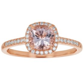 S Collection Morganite Diamond Cushion Cut Halo Ring in 14K Rose Gold