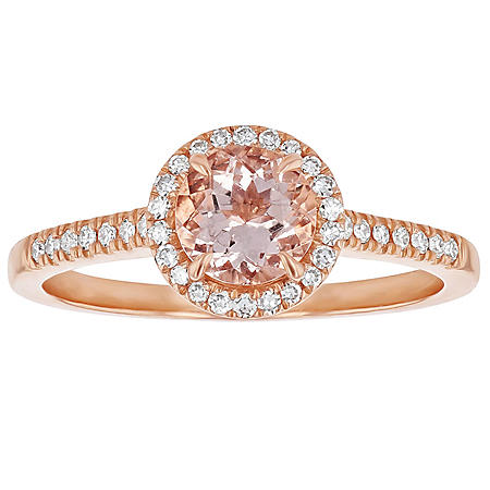 S Collection Morganite Diamond Round Halo Ring in 14K Rose Gold