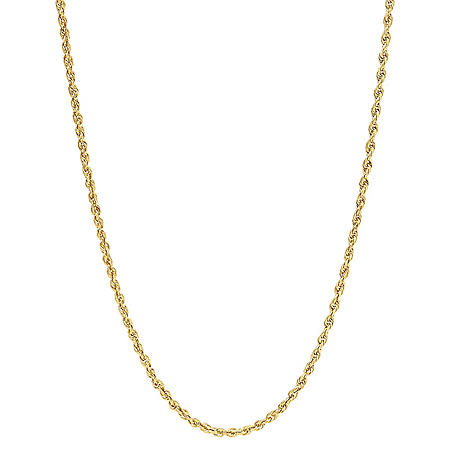 14K Yellow Gold 2.40-2.50MM Solid Rope Chain