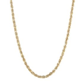 14K Yellow Gold 3.00-3.20MM Solid Rope Chain, 24""