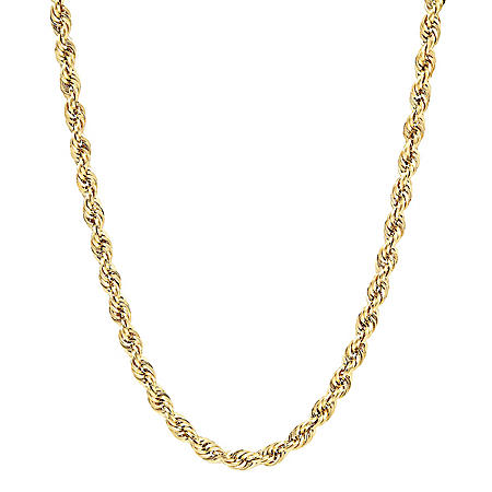 14K Yellow Gold Hollow Diamond Cut Rope Chain, 24""