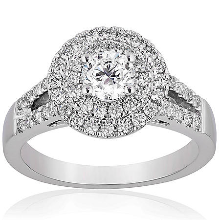 Superior Quality Collection 1.0 CT. T.W. Double Halo Split Shank Diamond Ring in 18 Karat White Gold (I, VS2)