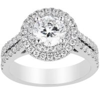 Superior Quality Collection 1.50 CT. T.W. Diamond Double Halo Ring in 18 Karat Gold (I, VS2)