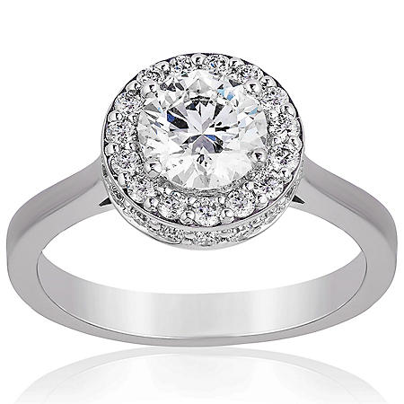 Superior Quality Collection 1.50 CT. T.W. Diamond Double Halo Ring in 18 Karat White Gold (I, VS2)