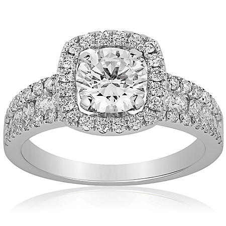 Superior Quality Collection 1.73 CT. T.W. Diamond Halo Ring in 18 Karat White Gold (I, VS2)