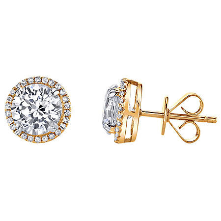 14K Gold Lab Created White Sapphire with 0.18 CT. T.W. Diamond Halo Earrings