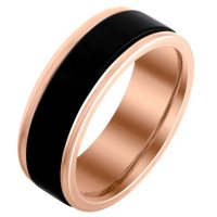 Mens 8mm Black and Rose Edged Tungsten Band