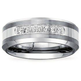 Mens 1/5 CT. T.W. Diamond Wedding Band in Tungsten Carbide