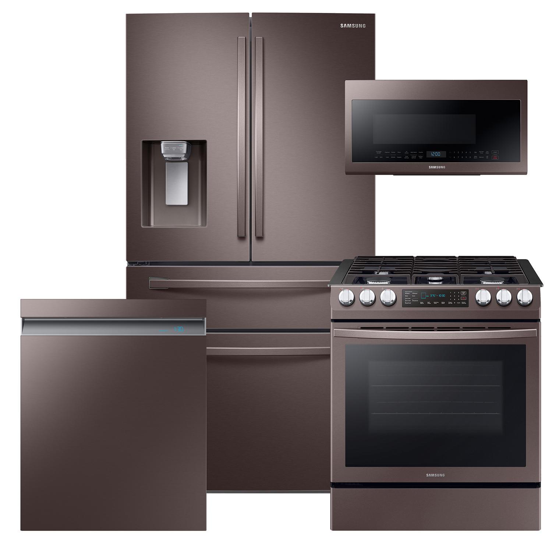 Samsung 4 piece Kitchen Suite Set with 4-Door Refrigerator, Range, Microwave and Dishwasher