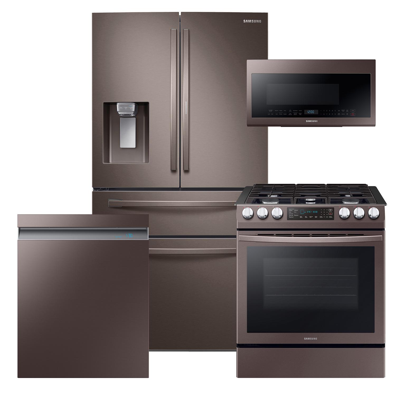 Samsung 4 Piece Kitchen Suite Set with Counter Depth 4-Door Refrigerator, Range, Microwave and Dishwasher