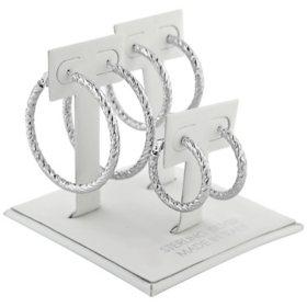 Sterling Silver Italian Knife Edge Earring Hoop Set