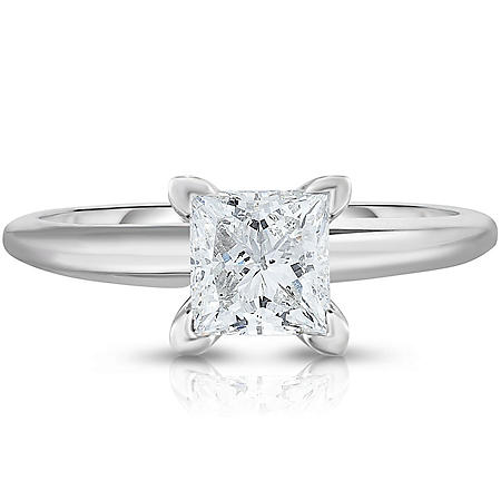 0.95 CT. T.W. Princess Diamond Solitaire Ring in 14k White Gold