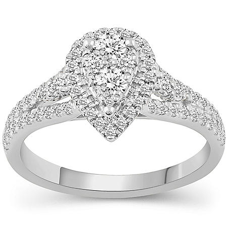 0.75 CT. T.W. Grand Pear Shape Composite Bridal Ring in 14K Gold