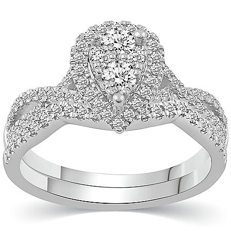 0.75 CT. T.W. Grand Pear Shape Composite Bridal Set in 14K Gold