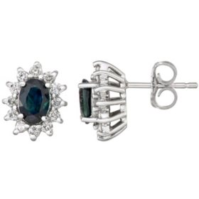 Blue Sapphire and Diamond Stud Earrings in 14k Gold