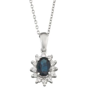 Blue Sapphire and Diamond Pendant in 14k Gold
