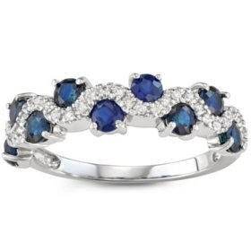 1.3 CT Blue Sapphire and Diamond Band in 14k Gold
