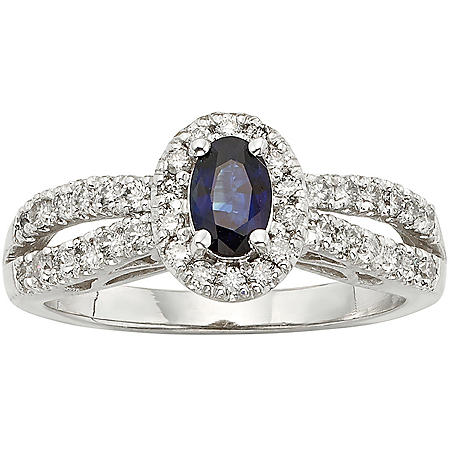Blue Sapphire and 0.50 CT. T.W. Diamond Ring in 14k Gold