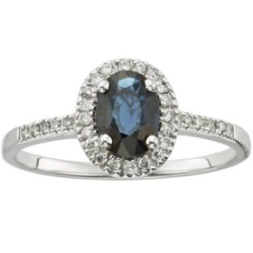 1.0 CT Blue Sapphire and Diamond Ring in 14k Gold