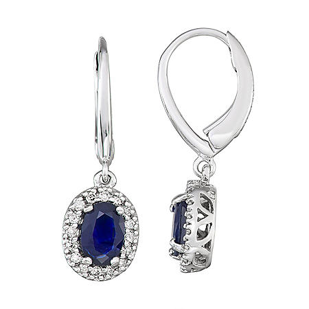 1.2 CT Blue Sapphire and Diamond Earrings in 14k Gold