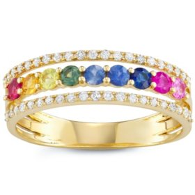Rainbow Sapphire and Diamond Ring in 14k Gold