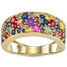 2 CT Rainbow Sapphire Ring in 14k Gold