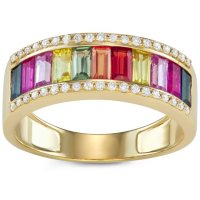 1.5 CT Rainbow Sapphire and Diamond Ring in 14k Gold