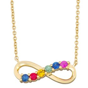 Rainbow Sapphire Infinity Necklace in 14k Gold